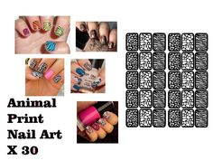 30 X Animal Print Safari Nail Art Stencils Sticker Vinyl Airbrush Manicure Decal by VinylCre8iveDesigns on Etsy