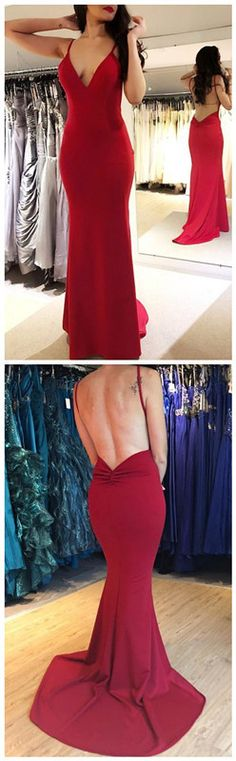 Spaghetti Straps Red V neck Backless Long Prom Dress, Mermaid Evening Dress Funky Bridal Grey Evening Dresses, Evening Dress Patterns, Sexy Evening Dress, Mermaid Evening Dresses, Prom Girl Dresses, Open Back Prom Dresses, Party Dresses, Red Ball Gowns, Spaghetti Straps
