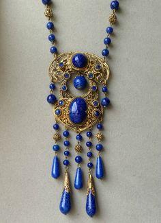 ART Deco Czech Lapis Glass Necklace W Jeweled Filigree | eBay