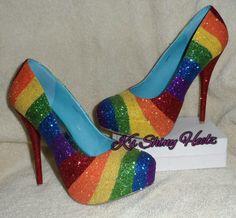#rainbow heels #shoes
