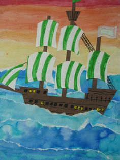 "4th grade watercolor collage pirate ship painting; 22""X28""; art teacher: Susan Joe"