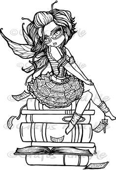 Digital Stamp - Instant Download - Library Fairy - Fantasy Line Art for Cards…