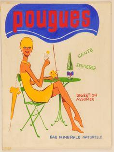 Maquette publicitaire pou l'eau minérale [ca 1960]. Fonds de la Compagnie des Eaux minérales de Pougues (32 J 465). (Archives départementales de la Nièvre) http://archives.cg58.fr/