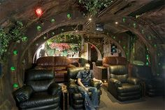 Is it a shipwrecked submarine or a steampunk jungle haven? Either way, it's one impressive game cave atmosphere.