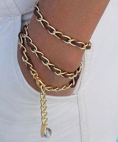 Triple Wrap BRACELET - Woven BROWN Microfiber Suede GOLD Chain with Dangle charms #shoplately