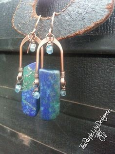 Lapis Waters Earrings, Copper, Blue Quartz, and Lapis Lazuli, ThePurpleLilyDesigns by ThePurpleLilyDesigns on Etsy Copper Earrings, Copper Jewelry, Wire Jewelry, Statement Earrings, Jewelry Crafts, Jewelry Art, Handmade Jewelry, Jewlery, Jewelry Ideas