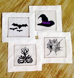 Embroidered Spooky Cocktail Napkins, set of four - pinned by pin4etsy.com
