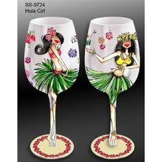 Island Girls Handpainted Wine Glass
