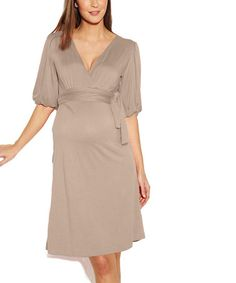 Love this Taupe Acacia Maternity Surplice Dress on #zulily! #zulilyfinds