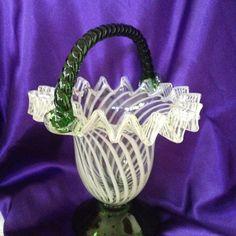 Vintage Art Glass Basket Folded Ruffles by VisualaromasVintage