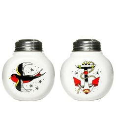 Lookin' for a little vintage flash?!  This set of ceramic salt shakers features classic vintage shaker shape, traditional tattoo sparrow on...
