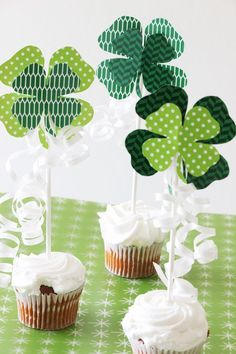 FREE Shamrock Printable! Perfect for St. Patty's Day Cupcake Toppers, Garland and More!