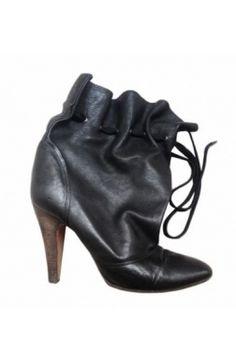 #Chloé Low #boots Cuir souple noir 36,5 lien cheville #kollas #kollasshop
