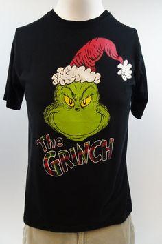 The Grinch Dr. Seuss Mens Medium Plaid Lettering Short Sleeve Black T-shirt M106 #DrSeuss #GraphicTee