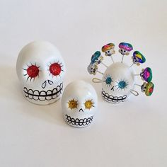 Get ready for Day of the Dead! These super cute little white clay skulls from Oaxaca can go on your ofrenda or decorate the house for Muertos. They look like sugar skulls but they are a bright white clay. The eyes are glittered with different colors. Or go with the