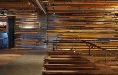 March Studio has been awarded the World Interior of the Year prize with its design of a sculptural timber lobby and utilitarian bar at a Canberra hotel Timber Planks, Timber Walls, Melbourne, Wood Slat Wall, Wood Slats, World Architecture Festival, Timber Screens, Interior Architecture, Interior Design