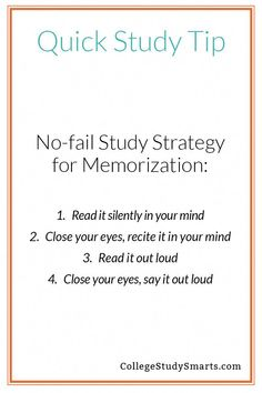 College Discover Quick Study Tips - No-fail Strategy for Memorization - College Study Smarts Need to remember dates facts and vocab for your next exam? This simple strategy works every time. Study Tips For High School, High School Hacks, Life Hacks For School, College Study Tips, School Tips, School Notes, College Hacks, Exam Motivation, Study Motivation Quotes
