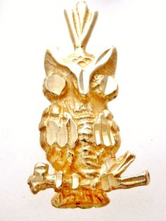 14K Yellow Gold Owl