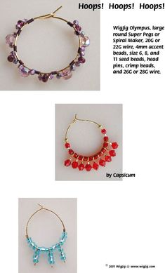 Instructions in making the Hoops Wire and Beads Earrings made with common jewelry tools and jewelry supplies.