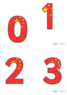 Chinese Flag Display Numbers  - Pop over to our site at www.twinkl.co.uk and check out our lovely Chinese New Year primary teaching resources! chinese new year, chinese numbers, chinese flag numbers, display numbers #chinese_new_year #teaching_resources