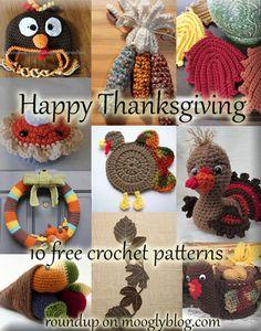 Crochet Me Lovely - 10 Free Thanksgiving Crochet Patterns Thanksgiving Crochet, Crochet Fall, Holiday Crochet, Halloween Crochet, Thanksgiving Crafts, Cute Crochet, Crochet Crafts, Yarn Crafts, Crochet Hooks