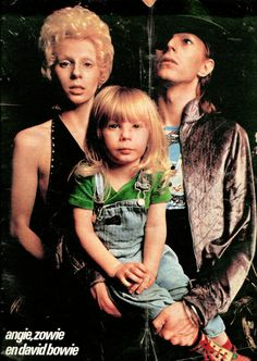 David Bowie and wife Angie with their 2-year-old son Zowie in February 1974.