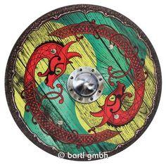 Bartl, Wikingerschild Drache grün-gelb, Schönes Rundschild aus Holz mit Leder-Halteriemen auf der Rückseite   111261