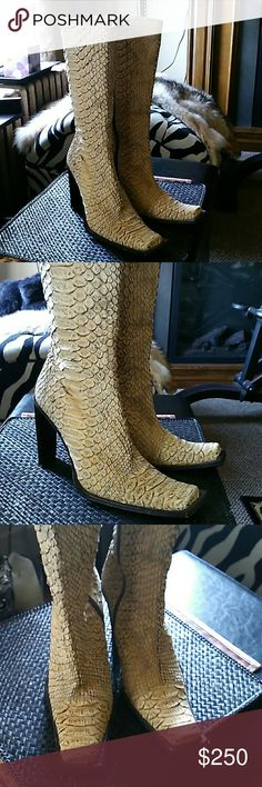 Authentic snake skin boots Gorgeous, rare, Italian hand crafted, snake skin Gianni Bravo Shoes Heeled Boots