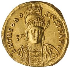 Ancient Gold Coins - Roman Imperial / THEODOSIUS II, (A.D. 402-450), gold solidus, Constantinople mint, issued A.D. c.425, (3.84 g)...Click VISIT to see 10,000+ Gold Coins at MAD On Collections. Please feel free to pin or share this coin. #GoldCoins