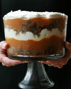 pumpkin triffle. This is how I made it First layer is a spice cake (I used a butter pecan mix with 1/4 tsp each cloves, all spice, nutmeg and 1/2 tsp cin). Second layer 1 can of pumpkin pie filling with1 box of vanilla pudding and 2 tbsp brown sugar and 1/2 tsp cin. 3rd layer whipping cream. Alternate layers and top with skor bits or crushed ginger snaps. Makes a pretty big portion.
