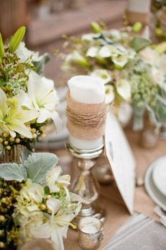 candle wrapped in burlap | Photo by Greer G. Photography