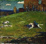 Wassily Kandinsky, The Blue Rider (Der Blaue Reiter), oil on canvas. Expressionist painting of white horse and blue rider galloping across a green meadow from right to left. Kandinsky Art, Wassily Kandinsky Paintings, Cavalier Bleu, Blue Rider, Blue Horse, Framed Art Prints, Art History, Modern Art, Abstract Art