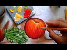 Pintura p/ iniciantes de morangos e folhas - YouTube