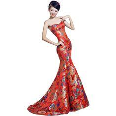Stunning red cheongsam  woven silk inspired dress