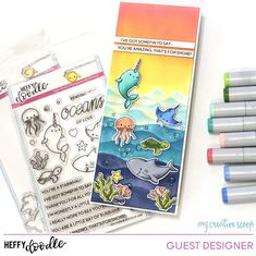 I'm guest designing for and have this fun card to share. I also have a video on how I created the background using my… Tiddly Inks, Distress Oxide Ink, Love Stamps, Copic Markers, You're Awesome, Copics, My Favorite Part, Cool Cards, Special Guest