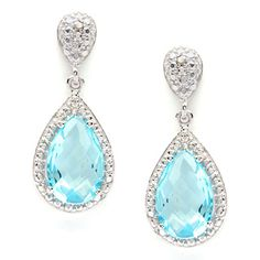 Shop for La Preciosa Sterling Silver Diamond Accent and Blue Topaz Teardrop Earrings. Get free delivery at Overstock.com - Your Online Jewelry Destination! Get 5% in rewards with Club O!