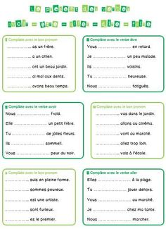 avoir etre faire aller - Google Search French Verbs, French Grammar, French Language Lessons, French Lessons, French Teacher, Teaching French, French For Beginners, French Worksheets, Education And Literacy