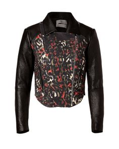 Take on the punk trend in luxe style with Preen's animal print detailed tartan biker jacket
