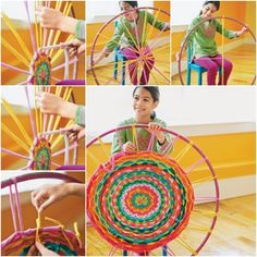 How to DIY Hula Hoop Woven Rug From Old T-shirts | www.FabArtDIY.com LIKE Us on Facebook ==> https://www.facebook.com/FabArtDIY