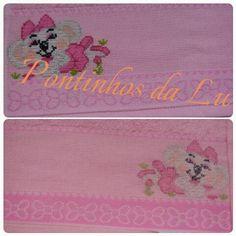 ponto cruz  cross stitch punto croce lilica  meninas girl toalha artesanato bordado