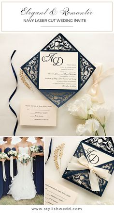 gorgeous navy blue laser cut wedding invitation with ivory ribbon Affordable Wedding Invitations, Laser Cut Wedding Invitations, Elegant Wedding Invitations, Wedding Gifts For Bridesmaids, Wedding Designs, Wedding Ideas, Reception, Ivory, Gift Wrapping