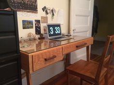 Custom hardwood cherry desk with black walnut drawer pulls Cherry Desk, Drawer Pulls, Corner Desk, Hardwood, Drawers, Custom Design, Furniture, Black, Home Decor