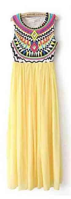 A  Chiffon Yellow Maxi Dress, with the most Beautiful Colorful Empire Bodice. I love the entire effect !!!!!