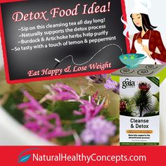 Detox for Weight Loss: Naturally support a detox diet with some Gaia Herbs Cleanse and Detox Tea. This tea contains Burdock, Artichoke, and a touch of lemon and peppermint. A great cleanse that you can sip on all day long! #recipes