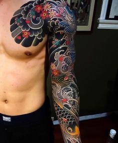 125 Best Japanese Tattoos For Men: Cool Designs, Ideas & Meanings 2020 - Japanese Sleeve Tattoo – Best Japanese Tattoos For Men: Cool Japanese Style Tattoo Designs and Id - Japanese Tattoo Koi, Traditional Japanese Tattoo Sleeve, Japanese Tattoo Words, Japanese Tattoo Meanings, Japanese Tattoos For Men, Japanese Tattoo Designs, Japanese Sleeve Tattoos, Japanese Style, Japanese Koi