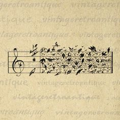 Birds Music Notes Printable Image Graphic Musical Notation Sheet Music Download Digital for Transfers Pillows HQ 300dpi No.3269 BOGO SALE. $3.50, via Etsy.