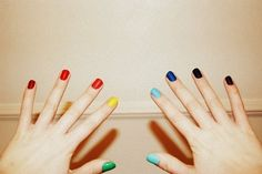 DIY Rainbow Nails Different color nails on each finger. French Nails, Diy Rainbow Nails, Multicoloured Nails, Hair And Nails, My Nails, Different Color Nails, Pastel Nails, Colorful Nails, Creative Nails