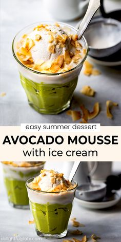 Vietnamese Avocado Mousse with Ice Cream is a rich and creamy dessert which is super quick and easy to put together. It is healthy, tasty and vegetarian. #summerdessert #asiandessert #avocadorecipes Avocado Recipes, Snack Recipes, Dessert Recipes, Snacks, Easy Summer Desserts, Asian Desserts, Avocado Mousse, Coconut Ice Cream, Beautiful Desserts