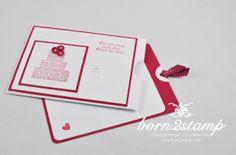 STAMPIN' UP! Hochzeitskarte mit Zum schönsten Tag im Leben und Itty bitty Stanze