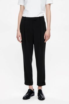 COS image 2 of Tailored pleat trousers in Black